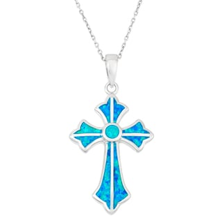 La Preciosa Sterling Silver Blue Opal Designed Cross Necklace