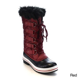 Beston AA82 Women's Lace Up Waterproof Quilted Mid Calf Weather Snow Boots