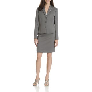 Tahari Arthur S. Levine Women's Collarless Textured 2-Piece Skirt Suit