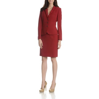 Tahari Arthur S. Levine Women's Pleated Bow Collar 2-Piece Skirt Suit