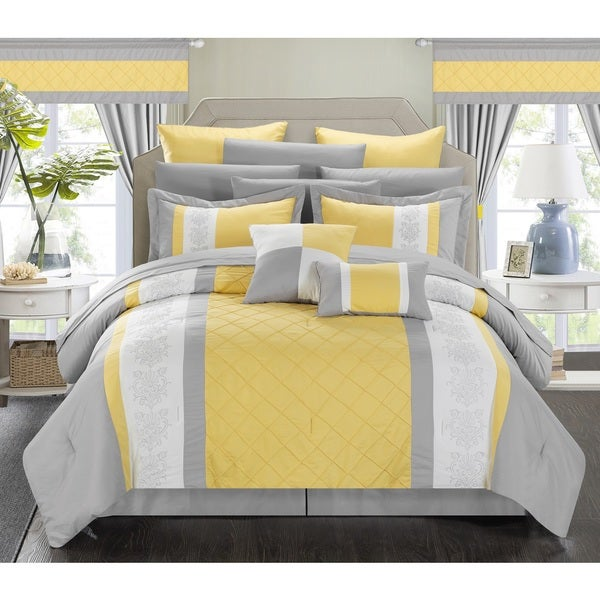 Chic Home Dylania Yellow 24-piece Bed-in-a-Bag Set with Curtains
