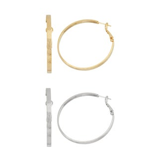 Isla Simone 40mm Gold and Silver Brushed Hoop