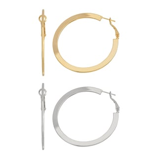 Isla Simone 50mm Flat Gold and Silver Hoop
