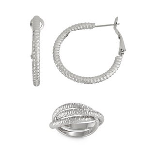 Isla Simone- SILVER TEXTURED HOOP - 30MM - SILVER TEXTURED RING