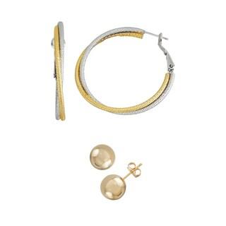 Isla Simone- TWO TONE BEADED HOOP - 40MM - GOLD SHINY STUD 10MM
