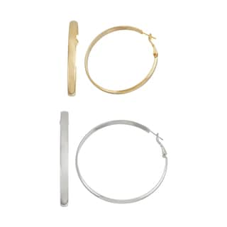 Isla Simone- GOLD ROUNDED HOOP - 50MM - SILVER ROUNDED HOOP - 60MM