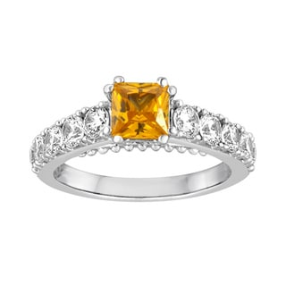 Sterling Silver Yellow Cubic Zirconia Princess Cut Ring