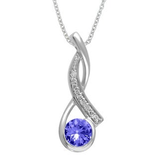 Divina 10k White Gold 1/2ct TDW White Diamond and Tanzanite Pendant (G-H, I1-I2)