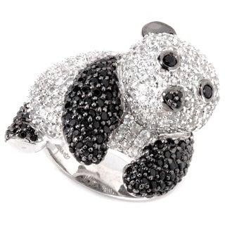 Sterling Silver Black Spinel and White Zircon Panda Ring