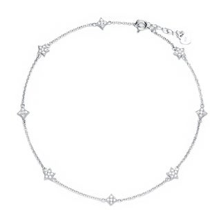 Blue Box Jewels Rhodium Plated Sterling Silver Star Shaped Star Cubic Zirconia Disc Anklet