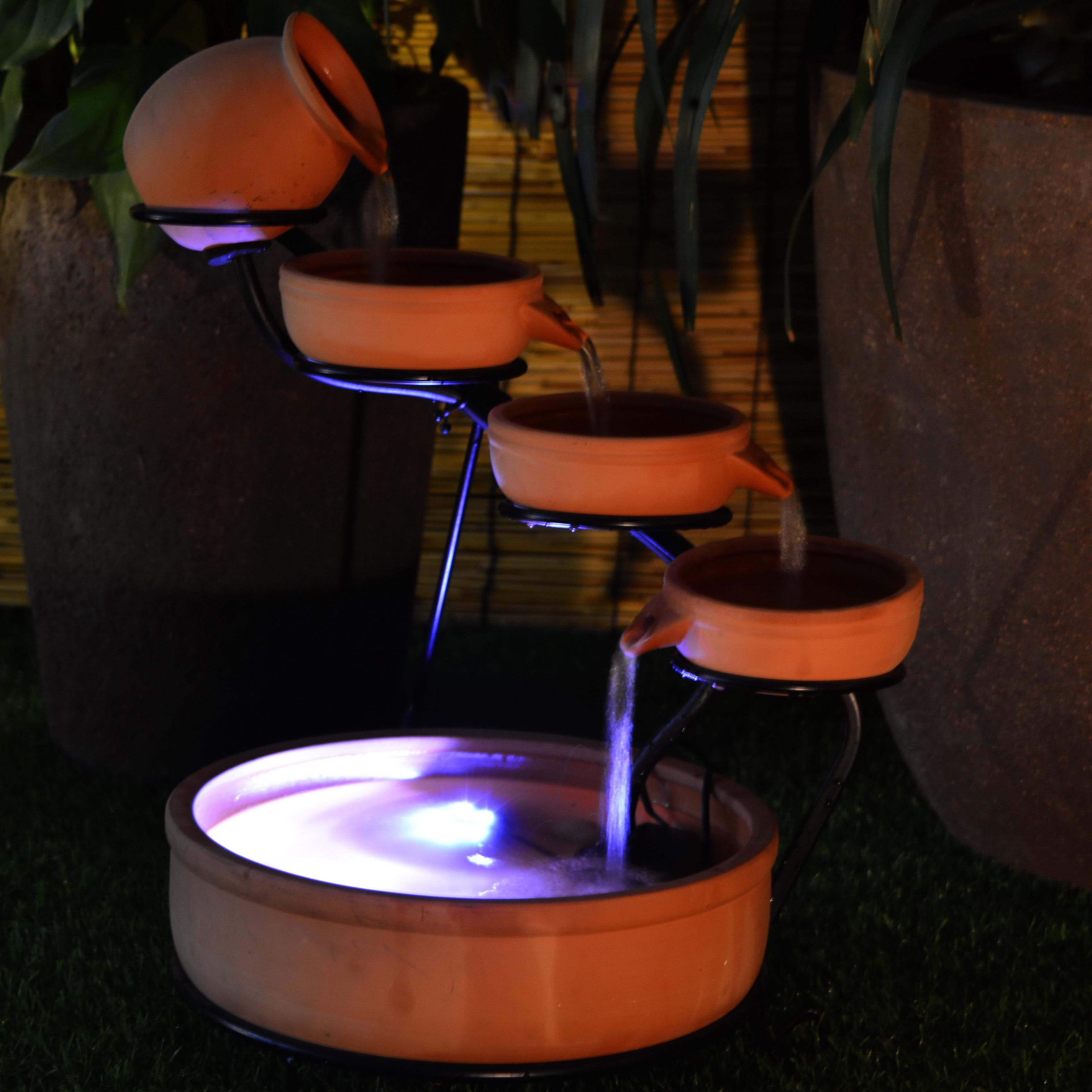 Terra Cotta Cascade Solar Water Fountain with Water Pump ...