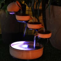 Terra Cotta Cascade Solar Water Fountain with Water Pump Battery and LED Light