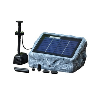 Solar Stone Water Pump Two (2) Watt with LED Light Fountain Kit