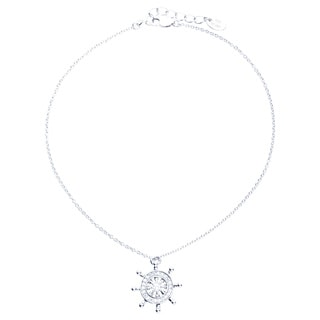 Blue Box Jewels Rhodium Plated Sterling Silver Cubic Zirconia Helm Anklet