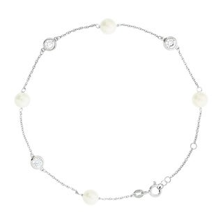 Blue Box Jewels Rhodium Plated Sterling Silver Cubic Zirconia Faux Pearl Anklet