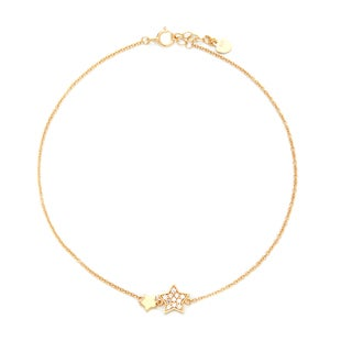 Blue Box Jewels Gold Plated Sterling Silver Cubic Zirconia Round Double Star Anklet