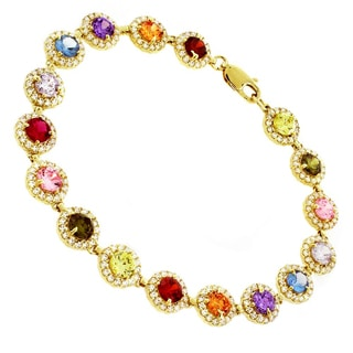 14k Gold Womens Multi Color Cubic Zirconia Bracelet
