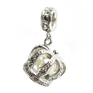 Queenberry Sterling Silver 3-D Crown Fresh Water Pearl Dangle European Bead Charm