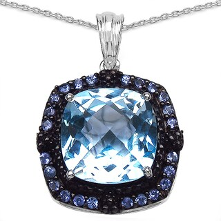 Malaika 13.50 Carat Blue Topaz and Tanzanite .925 Sterling Silver Pendant