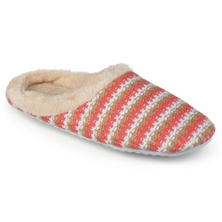 Journee Collection Women's Knit Striped Slippers