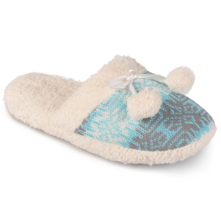 Journee Collection Women's Backless Fair Isle Slippers