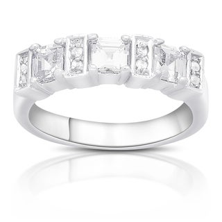 Dolce Giavonna Silver Overlay Three Stone Cubic Zirconia Band Ring