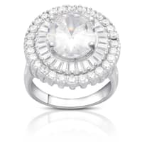 Dolce Giavonna Sterling Silver Round Cubic Zirconia Halo Cocktail Ring