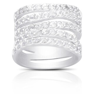 Dolce Giavonna Sterling Silver Cubic Zirconia Multi Band Ring