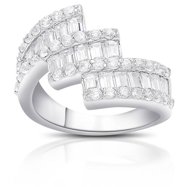 Dolce Giavonna Sterling Silver Cubic Zirconia Ribbon Design Ring