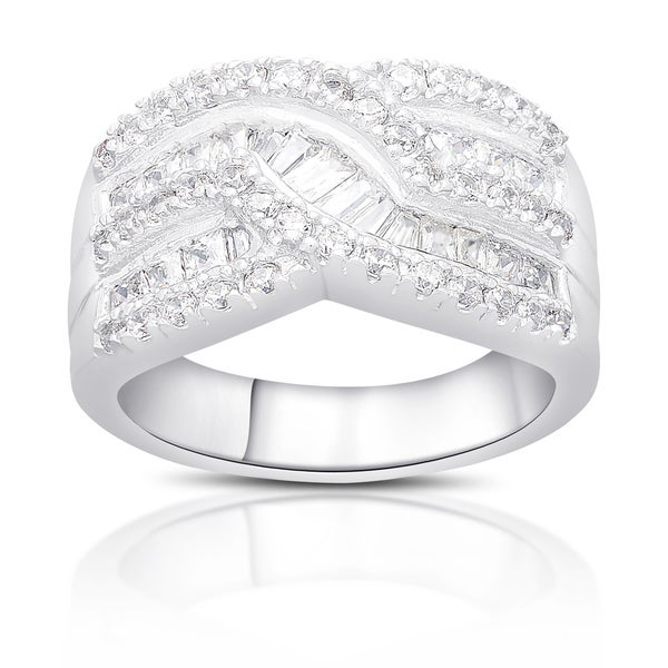 Dolce Giavonna Sterling Silver Cubic Zirconia Twist Design Ring