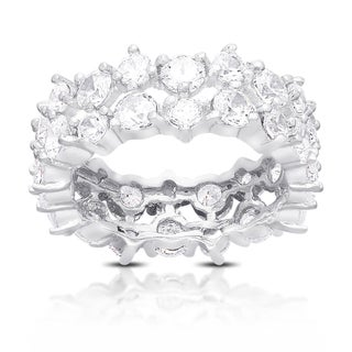 Dolce Giavonna Sterling Silver Two Row Cubic Zirconia Eternity Style Ring (4 options available)