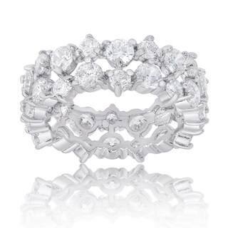 Dolce Giavonna Sterling Silver Two Row Cubic Zirconia Eternity Style Ring