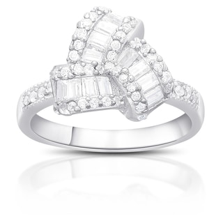 Dolce Giavonna Sterling Silver Cubic Zirconia Love Knot Design Ring