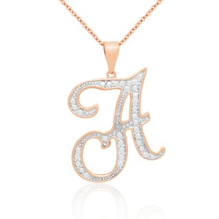 Finesque Rose Gold Overlay Diamond Accent Initial Necklace (I-J, I2-I3)