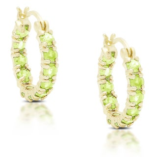 Dolce Giavonna Gold over Silver or Sterling Silver Peridot Hoop Earrings