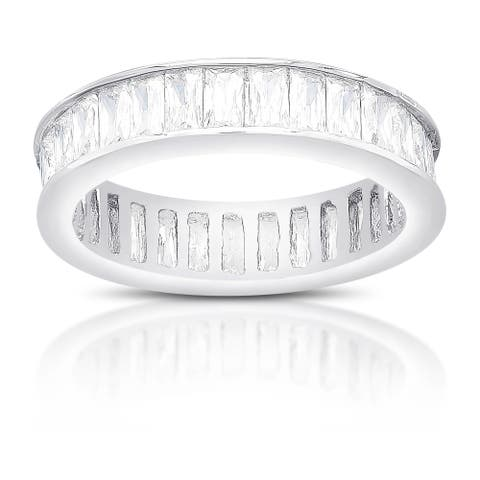 Dolce Giavonna Sterling Silver Cubic Zirconia Eternity Style Ring