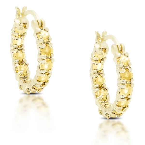 Dolce Giavonna Gold Over Silver Or Sterling Citrine Hoop Earrings