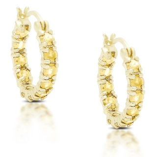 Dolce Giavonna Gold over Silver or Sterling Silver Citrine Hoop Earrings