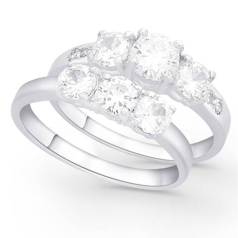 Dolce Giavonna Sterling Silver Cubic Zirconia Bridal Set