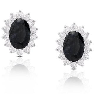 Dolce Giavonna Sterling Silver Oval Sapphire and Cubic Zirconia Stud Earrings