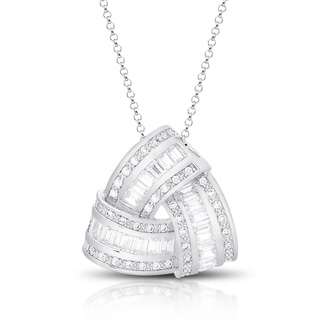 Dolce Giavonna Silver Overlay Cubic Zirconia Love Knot Design Necklace