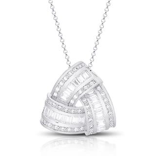 Dolce Giavonna Silver Overlay Cubic Zirconia Love Knot Design Necklace|https://ak1.ostkcdn.com/images/products/10770394/P17821416.jpg?impolicy=medium