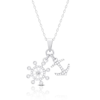 Dolce Giavonna Sterling Silver Cubic Zirconia Nautical Design Necklace