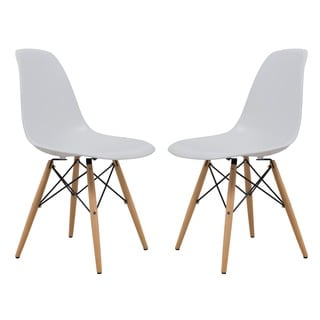 LeisureMod Dover White Side Chair (Set of 2)