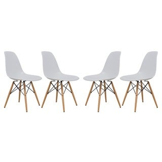 LeisureMod Eames-Style Dover White Side Chair (Set of 4)