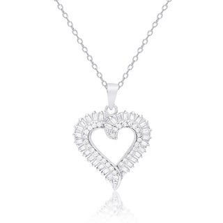 Dolce Giavonna Sterling Silver Cubic Zirconia Heart Necklace