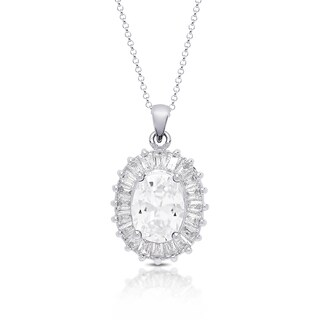 Dolce Giavonna Sterling Silver Cubic Zirconia Oval Necklace