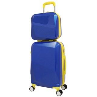 World Traveler Diamond Blue-Yellow 2-piece Carry-on Hardside Spinner Luggage Set