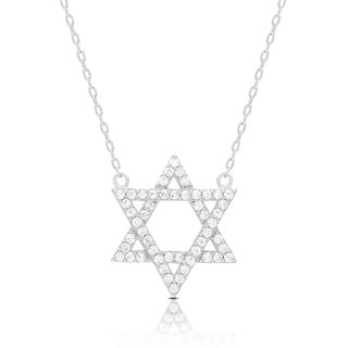 Dolce Giavonna Sterling Silver Cubic Zirconia Star of David Necklace