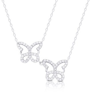 Samantha Stone Sterling Silver Cubic Zirconia Butterfly Necklace